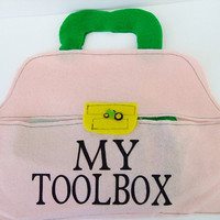 Felt Toolbox with felt tools, Toddler Pretend toy, First Toolbox with tools