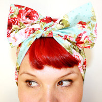Bow hair tie, Vintage Inspired Head Scarf, Powder Blue Vintage Rose, Rockabilly, Retro, 1940s, 1950s