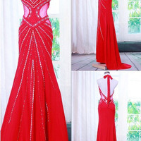 A-line Halter Sleeveless Floor-length Chiffon Prom Dress With Rhinestone Paillette Beading Free Shipping