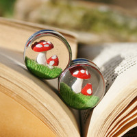 Toadstool Mushroom Plugs Resin for gauged ears custom size 00g, 7/16g,1/2g, 9/16g, 5/8g, 3/4g, 7/8g, 1&quot;