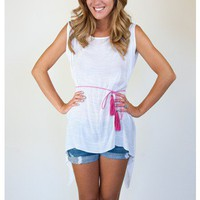 Gauze Tunic with Hot Pink Belt - Apparel | Sugar and Sequins