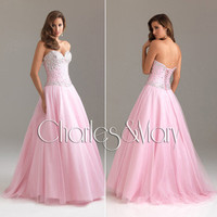 Beaded A-line Tulle Quinceanera/Ball gown/Evening/Prom dress/SZ 6 8 10 12 14
