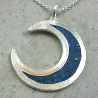 Crescent Moon Pendant in Fine Silver - Waxing Moon - Waning Moon - Lunar Phases - Planetary Eclipse - Wiccan Jewelry - Blue Inlay - OOAK