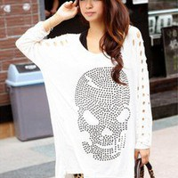 Korean Fashion T-SHIRT SKULL Bling #1023-wte Lady Long Batwing Sleeve Tee Tops