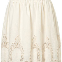 Cream Embroidered Full Skirt - Skirts  - Apparel