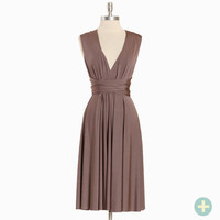 wrapped in the night curvy plus dress in mocha - $39.99 : ShopRuche.com, Vintage Inspired Clothing, Affordable Clothes, Eco friendly Fashion