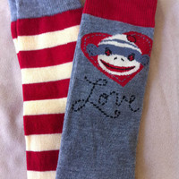 Baby Girl Leg Warmers  Love Sock Monkeys on by fourtinycousins