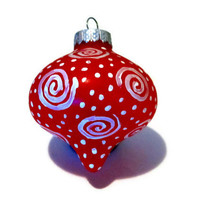 Hand Painted Red and White swirl Christmas Ornament, Tree Ornament, Tree Decoration, Tree Bulb