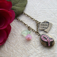 Think Pink Breast Cancer Awareness Locket by allstrungout1 on Etsy