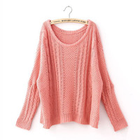 Women Retro Bat Wing Loose Warm Scoop Neck Knit Pullover Sweater Jumper Tops New