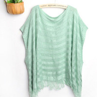 Women Bohemian Fringe Knit Loose Hollow Asymmetric Cloak Poncho Cardigan Top