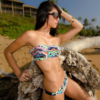 Scrunch front Bandeau TOP with corset style lace up back- Aztec Princess Print