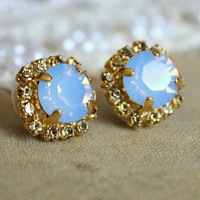 Crystal stud aqua blue earring - 14k plated gold post earrings real swarovski rhinestones .