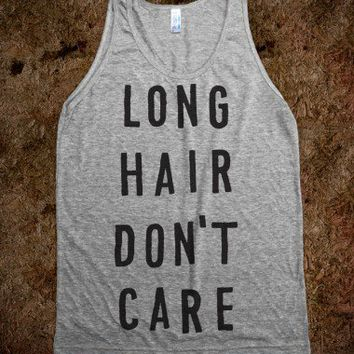 Long Hair Don't Care (Tank)-Unisex Athletic Grey Tank
