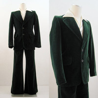 70s 80s Suit Vintage Men's Green Velvet Jacket & Wide Leg Pants Holiday S