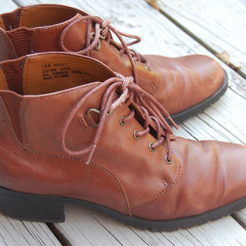 Vintage 80s 90s Nicole Grunge Brown Leather Lace Up Granny Ankle Boots Hiking Military Size 7.5 Medium