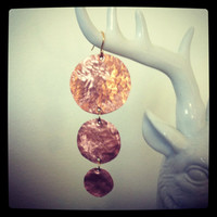Hammered copper shoulder duster earrings