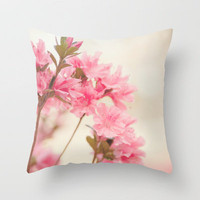 Pink Azaleas Throw Pillow by Erin Johnson | Society6