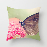 Spotted Black Crow Butterfly Throw Pillow by Erin Johnson | Society6