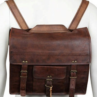 13 inch Macbook Leather Messenger cum Backpack Leather Men's Laptop Messenger Satchel Shoulder Handbag Bags Handmade Soft Leather Briefcase