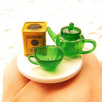 Tea Ring Kawaii Miniature Food Ring by SouZouCreations on Etsy