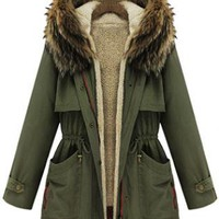 Lambswool Hooded Long Sleeve Coat Green Coat  S007421
