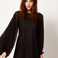 River Island Bell Sleeve Lace Dress at asos.com