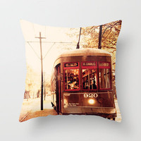 St Charles Street Car - New Orleans Throw Pillow by Erin Johnson | Society6