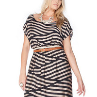 Plus Size Stripe Elastic Waist Dress | Sexy Clothes Womens Sexy Dresses Sexy Clubwear Sexy Swimwear | Flirt Catalog