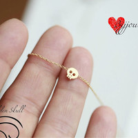 Tiny gold skull necklace -18&#x27;&#x27;-GOLD- Small skull necklace - GOLD ---18&#x27;&#x27; ONLY