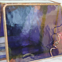 Stained Glass Jewelry Box Vivid Purple 3x4 w/ a by GaleazGlass