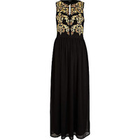 Black baroque print maxi dress