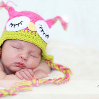 Newborn 3 Month Sleepy Owl Hat/Photography by LoveMeRaggedbyTracy
