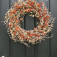 Autumn Wreath Pumpkins and Cream Berry Wreath by twoinspireyou