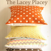 2 Sweet Potato Polka Dot Pillow Covers 18x18 by TheLaceyPlacey
