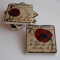 Red Poppies Coasters on Luulla