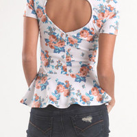 Kirra Heart Back Floral Peplum Top at PacSun.com