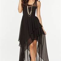 A&#x27;GACI Sweetheart Mesh Hi Lo Dress - DRESSES