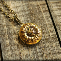 Sunflower Locket Necklace