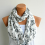 Infinity Scarf,Winter Scarf,Loop Scarf,Circle Scarf,.Ultra soft..Cowl...Nomad Tube...snow flowers