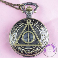 Harry potter Deathly Hallows Pocket Watch Necklace,Zodiac Pocket Watch Necklace,constellation  Necklace