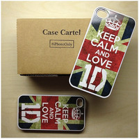 Apple iPhone 4 4G 4S  Case Skin Cover Keep Calm and Love 1D One Direction Available in Black, Clear, or  White Hard Case.