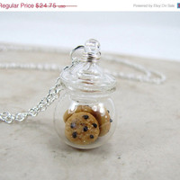 Black Friday Sale Chocolate Chip Cookie Jar Necklace Miniature Food Jewelry