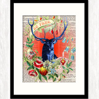 BE FREE STAG Poster Typographic Art Print Typography print on reproduction vintage dictionary page or vintage style background 11x14