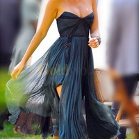 Gossip Girl Sexy Strapless Satin Chiffon Celebrity Dress - US&amp;#36;195.99 - Goldwo.com