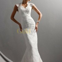 Elegant Cap Sleeves Sheath Embroidery Satin Lace Wedding Dress - US$244.99 - Goldwo.com