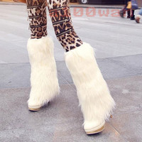 Women's Fashion Platform Pumps Long Warm Fur Stiletto High Heels Knee High Boots
