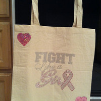 Breast cancer awareness book bag by bestiesboutiquee on Etsy
