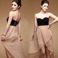 Fashion Women's Sexy Slim Strapless Chiffon Asymmetric Backless Long Dress #455