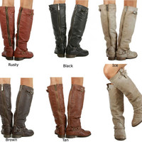New Women&#x27;s Breckelle&#x27;s Outlaw 11 Buckle Knee high Riding Boots Size 5.5-11